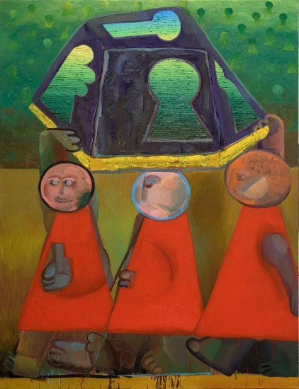 Nosiči zámku, 130x170 cm olej na plátně, 2017