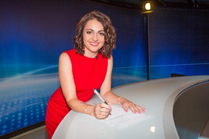 Eva Borská ve studiu Našich zpráv TV Barrandov foto TV Barrandov Adéla Bartoníčková