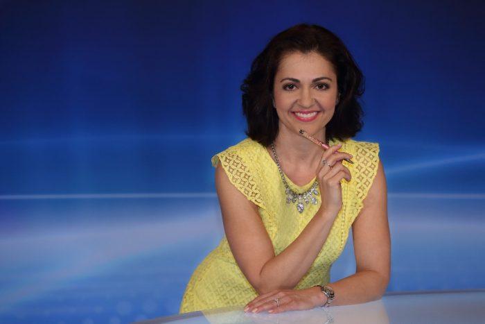 Eva Borska ve studiu Nasich zprav TV Barrandov Foto TV Barrandov Robert Sedmik