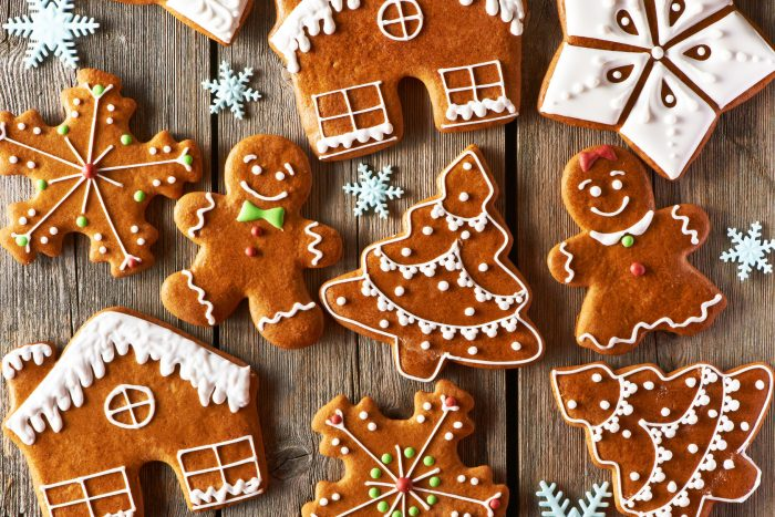 32349844 - christmas homemade gingerbread cookies on wooden table