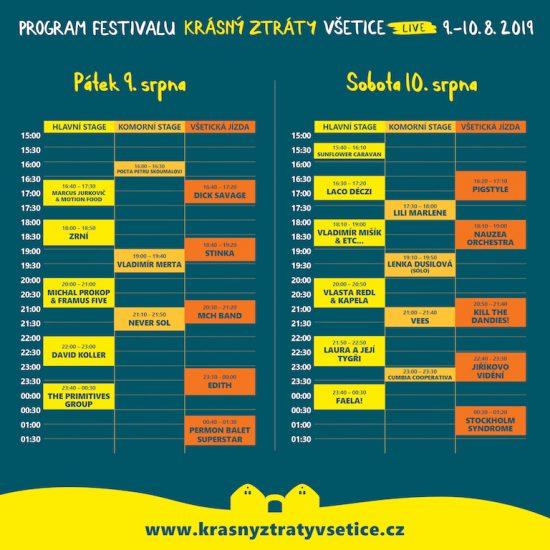 Program festivalu Krásný ztráty live Všetice